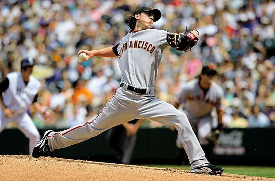 DENVER - AUGUST 23:  Starting pitcher Tim Lincecum #55 of the San Francisco Giants delivers against the Colorado Rockies at Coors Field on August 23, 2009 in Denver, Colorado.  (Photo by Doug Pensinger/Getty Images) Photo: Doug Pensinger, Getty Images
