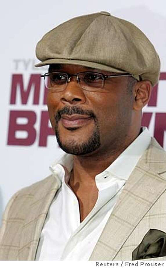 "###Live Caption:Writer, producer, director and cast member Tyler Perry poses at the premiere of the film ""Tyler Perry's Meet The Browns"" in Hollywood, California March 13, 2008. REUTERS/Fred Prouser (UNITED STATES)###Caption History:Writer, producer, director and cast member Tyler Perry poses at the premiere of the film ""Tyler Perry's Meet The Browns"" in Hollywood, California March 13, 2008. REUTERS/Fred Prouser (UNITED STATES)###Notes:Tyler Perry poses at the premiere of the film ""Tyler Perry's Meet The Browns"" in Hollywood###Special Instructions:0 Photo: FRED PROUSER"