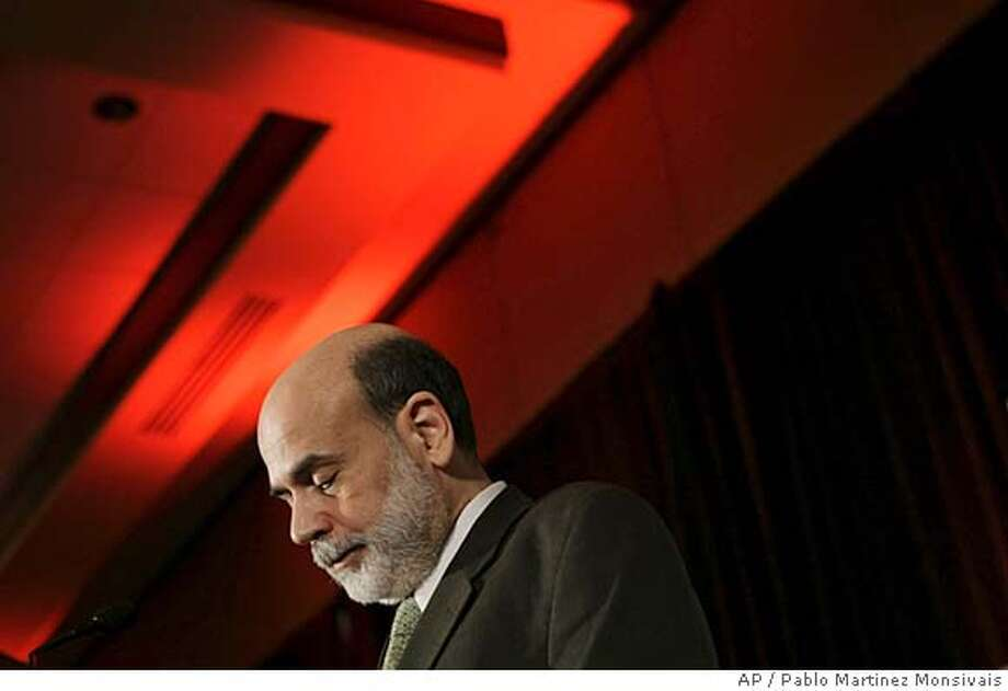 ###Live Caption:Federal Reserve Chairman Ben Bernanke pauses as he speaks at the National Community Reinvestment Coalition's annual conference, Friday, March 14, 2008, in Washington. (AP Photo/Pablo Martinez Monsivais)###Caption History:Federal Reserve Chairman Ben Bernanke pauses as he speaks at the National Community Reinvestment Coalition's annual conference, Friday, March 14, 2008, in Washington. (AP Photo/Pablo Martinez Monsivais)###Notes:Ben Bernanke###Special Instructions: Photo: Pablo Martinez Monsivais