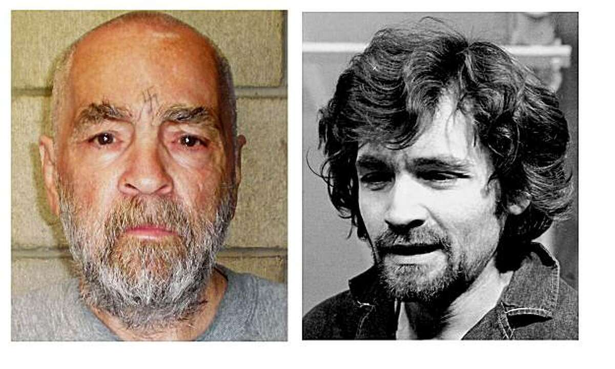 In a Dec. 17, 1970 file photo, right, Charles Manson is pictured en route to a Los Angeles courtroom. At left, a 74-year-old Manson is shown in a file photo from March 18, 2009 released by California corrections officials taken at Corcoran State Prison.