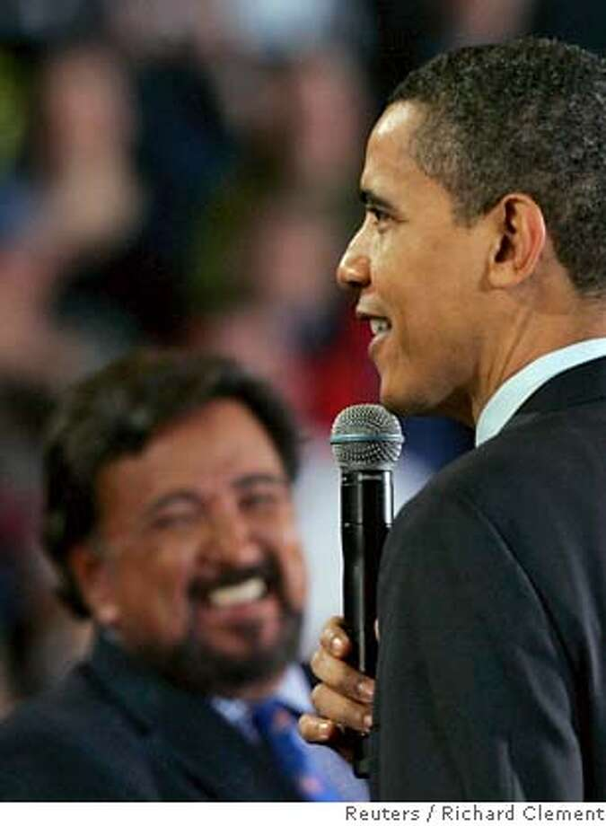 ###Live Caption:US Democratic presidential candidate Senator Barack Obama (D-IL) (R) and New Mexico Governor Bill Richardson laugh during a campaign rally in Portland, Oregon, March 21, 2008. Richardson endorsed Obama's bid for the Democratic nomination for U.S. president on Friday, in a big boost for the senator. REUTERS/Richard Clement (UNITED STATES) US PRESIDENTIAL CAMPAIGN 2008 (USA)###Caption History:US Democratic presidential candidate Senator Barack Obama (D-IL) (R) and New Mexico Governor Bill Richardson laugh during a campaign rally in Portland, Oregon, March 21, 2008. Richardson endorsed Obama's bid for the Democratic nomination for U.S. president on Friday, in a big boost for the senator. REUTERS/Richard Clement (UNITED STATES) US PRESIDENTIAL CAMPAIGN 2008 (USA)###Notes:US Democratic presidential candidate Obama (Dand New Mexico Governor Richardson laugh during campaign rally in Portland###Special Instructions: Photo: RICHARD CLEMENT