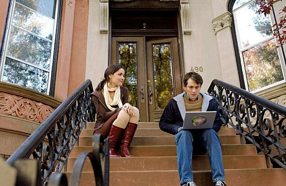 "Rose Byrne and Hugh Dancy in ""Adam."" Adam sits on front stoop, Beth comes to talk Photo: Julia Griner"