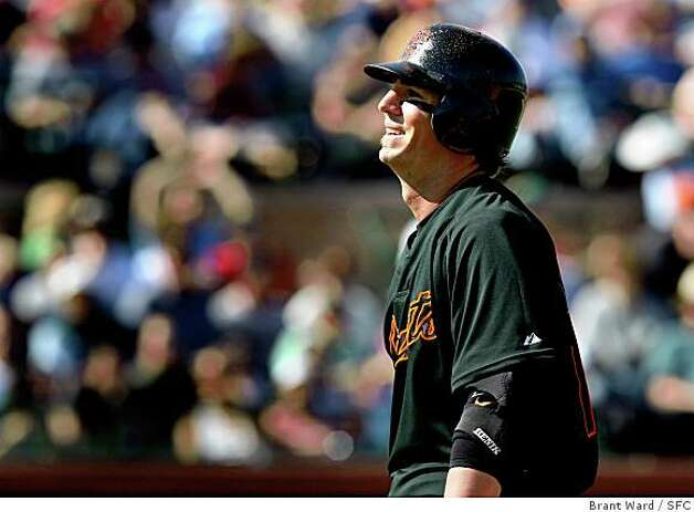 Giants Kevin Frandsen smiled to himself after being called back to bat after he felt he was hit by a pitch in the sixth inning. He then struck out to end the inning. On March 5, 2008 the San Francisco Giants lost to the Kansas City Royals in a spring training exhibition game 3-1.  Photo by Brant Ward / San Francisco Chronicle Photo: Brant Ward, SFC