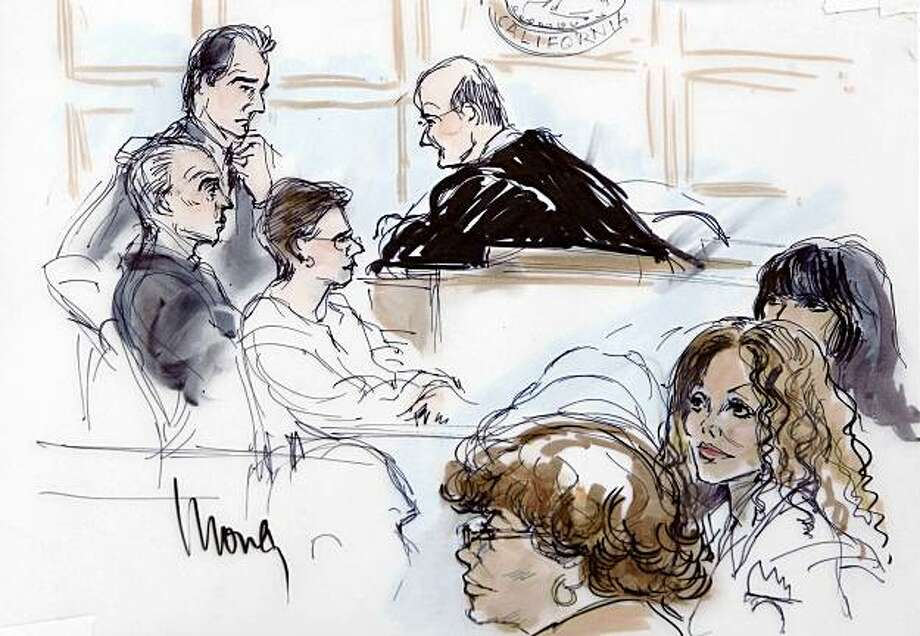 In this artist's drawing from bottom left, Katherine, La Toya, center, and Rebbie Jackson are seen at the Stanley Mosk Courthouse on Monday Aug. 3, 2009, in Los Angeles. (AP Photo/Mona Edwards) Photo: Mona Edwards, AP