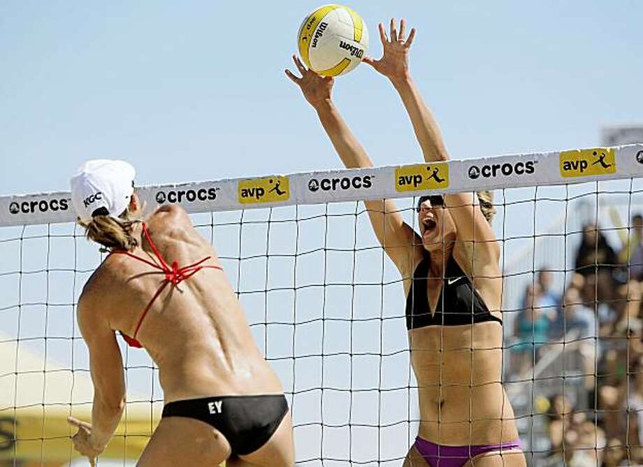 SAN FRANCISCO - AUGUST 16:  April Ross blocks a shot against Nicole Branagh and Elaine Youngs during the finals at the AVP Crocs San Francisco Open on August 16, 2009 at Pier 32 in San Francisco, California.  (Photo by Jed Jacobsohn/Getty Images) Photo: Jed Jacobsohn, Getty Images