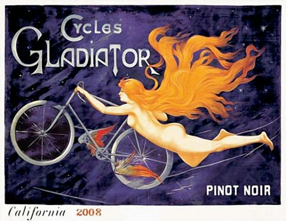 **EDS NOTE: NUDITY** This image provided by Cycles Gladiator shows the label for a bottle of Cycles Gladiator 2008 Pinot Noir. The Alabama Alcoholic Beverage Control Board has stopped the sale of Cycles Gladiator wine in the state after ruling that the label from the California company was inappropriate because of nudity. The company says it won't change the label for Alabama. (AP Photo/Cycles Gladiator) **NO SALES** Photo: Anonymous, AP