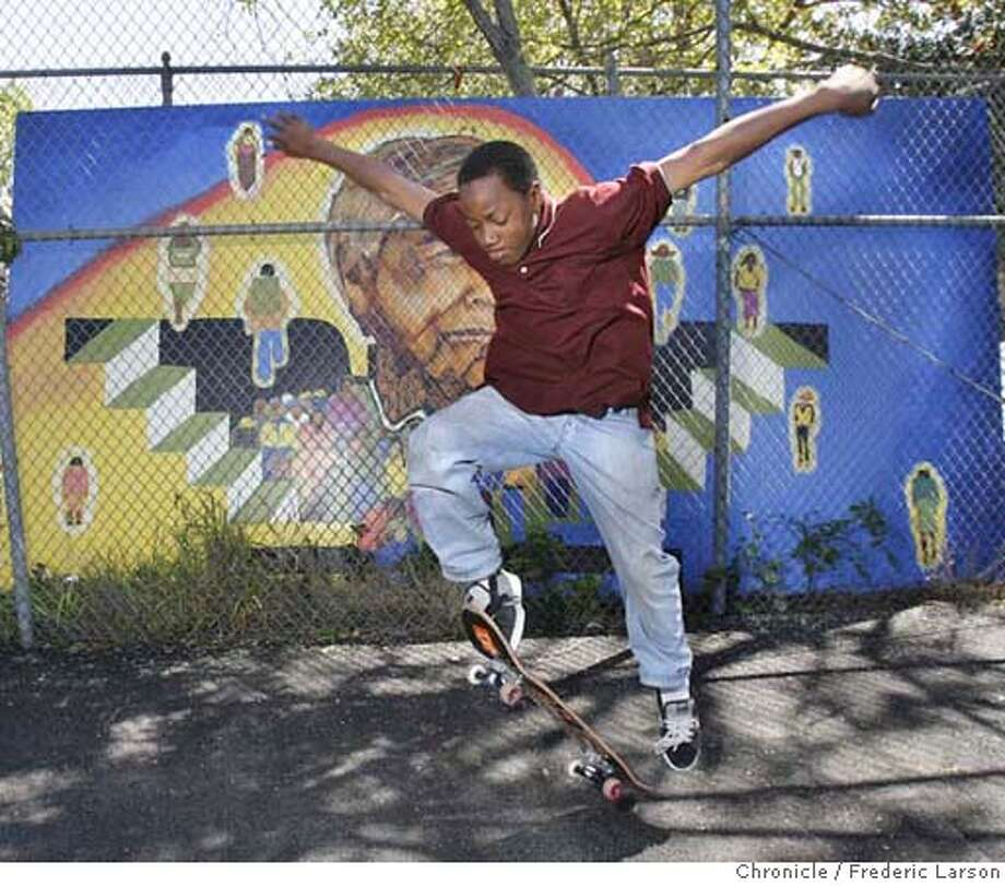 ###Live Caption:Marlon Lee (12) help design a new skate park at Rainbow Recreation Center in Oakland which opened on Cesar Chavez Day, March 31, 2008, which was built in honor of Cesar Cheavez.  3/31/08 3/31/08 Photo by Frederic Larson / San Francisco Chronicle###Caption History:Marlon Lee (12) help design a new skate park at Rainbow Recreation Center in Oakland which opened on Cesar Chavez Day, March 31, 2008, which was built in honor of Cesar Cheavez.  3/31/08 3/31/08 Photo by Frederic Larson / San Francisco Chronicle###Notes:Today is Cesar Chavez Day. The holiday has become a day associated with service and volunteerism. In a rough part of Oakland, more than 100 volunteers built a skate park on Saturday at the Rainbow Recreation Center. Some of the kids who are out of school###Special Instructions:MANDATORY CREDIT FOR PHOTOG AND SAN FRANCISCO CHRONICLE/NO SALES-MAGS OUT Photo: Frederic Larson