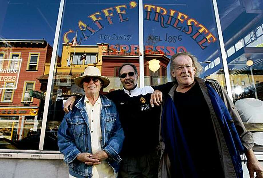 On the eve of the 40th anniversary of Woodstock, veterans of the event and local icons of the Bay Area music scene L to R  Joe McDonald, Michael Carabello and Paul Kantner gather outside Cafe Trieste in San Francisco to talk about their special experiences. Photo: Lance Iversen, The Chronicle