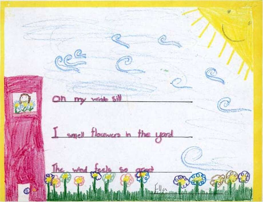 "Illustration by Ella Scanga, 7, of San Francisco, to accompany her poem, ""Spring,"" part of Sunday Datebook Kids Poetry Contest for National Poetry Month.  Ran on: 03-30-2008  This illustrated poem is by Ella Scanga, 7, of San Francisco. Photo: Ella Scanga"