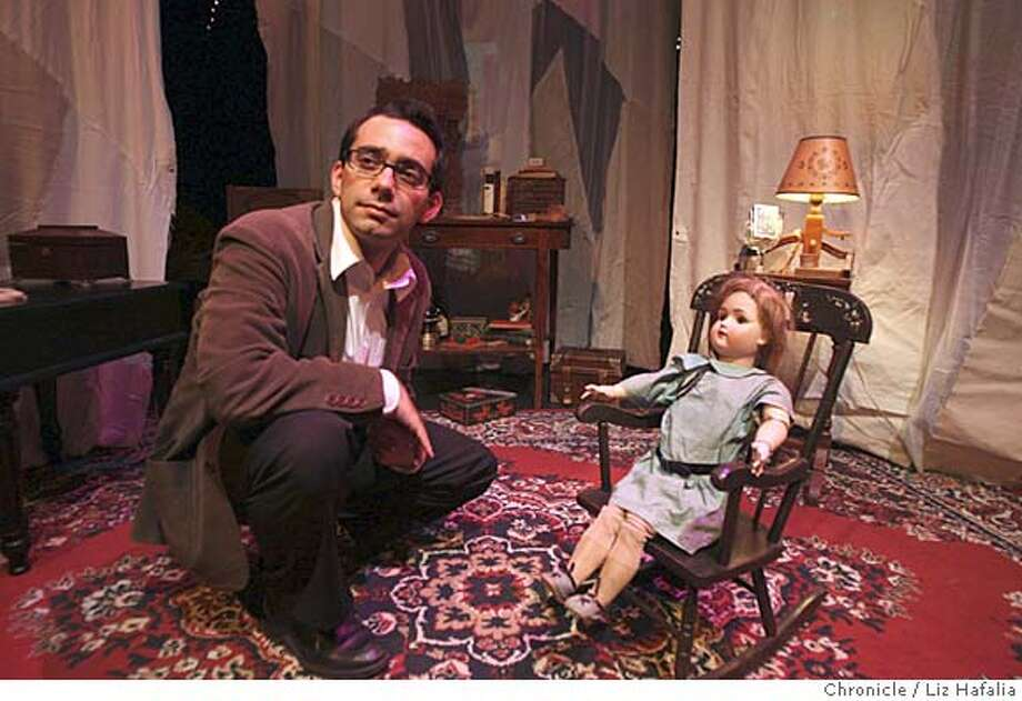 "###Live Caption:Chris Cagigal in a rehearsal of his show, ""The Pandora Experiment"" at Exit Theatre in San Francisco, Calif., on Thursday, March 13, 2008. Cagigal uses multiple props, mainly from family, notably a 100 year old doll from his estranged grand uncle Tio Julio.  Photo by Liz Hafalia / San Francisco Chronicle###Caption History:Chris Cagigal in a rehearsal of his show, ""The Pandora Experiment"" at Exit Theatre in San Francisco, Calif., on Thursday, March 13, 2008. Cagigal uses multiple props, mainly from family, notably a 100 year old doll from his estranged grand uncle Tio Julio.  Photo by Liz Hafalia / San Francisco Chronicle###Notes:Chris Cagigal in a rehearsal of his show, ""The Pandora Experiment"" at Exit Theatre in San Francisco, Calif., on Thursday, March 13, 2008. Cagigal uses multiple props, mainly from family, notably a 100 year old doll from his estranged grand uncle Tio Ju###Special Instructions:�2008, San Francisco Chronicle/ Liz Hafalia  MANDATORY CREDIT FOR PHOTOG AND SAN FRANCISCO CHRONICLE. NO SALES- MAGS OUT. Photo: Liz Hafalia"