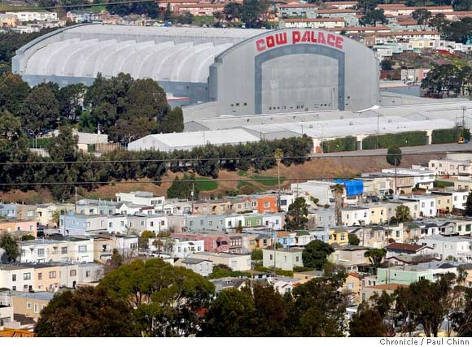 A neighborhood of single-familly homes are seen next to the Cow Palace in Daly City, Calif., on Wednesday, Feb. 27, 2008. State senator Leland Yee is proposing that the state of California, which owns the property, should sell it to the city of Daly City which in turn would raze the historic structure and build a shopping center and residential units.  Photo by Paul Chinn / San Francisco Chronicle  Ran on: 02-28-2008  The Beatles appeared at this 1965 Cow Palace concert, as well as one in 1964.  Ran on: 02-28-2008  The Beatles appeared at a 1965 Cow Palace concert, as well as one in 1964. Photo: Paul Chinn