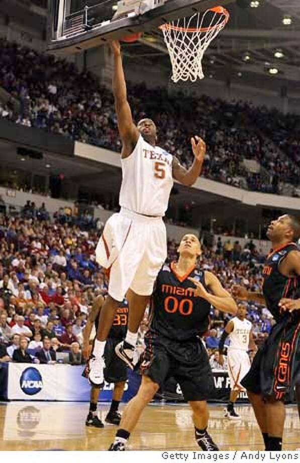 ###Live Caption:NORTH LITTLE ROCK, AR - MARCH 23: Damion James #5 of the Texas Longhorns goes up for a shot against Jimmy Graham #00 of the Miami Hurricanes during the second round of the South Regional as part of the 2008 NCAA Men's Basketball Tournament at Alltel Arena on March 23, 2008 in North Little Rock, Arkansas. (Photo by Andy Lyons/Getty Images)###Caption History:NORTH LITTLE ROCK, AR - MARCH 23: Damion James #5 of the Texas Longhorns goes up for a shot against Jimmy Graham #00 of the Miami Hurricanes during the second round of the South Regional as part of the 2008 NCAA Men's Basketball Tournament at Alltel Arena on March 23, 2008 in North Little Rock, Arkansas. (Photo by Andy Lyons/Getty Images)###Notes:Miami v Texas###Special Instructions: Photo: Andy Lyons
