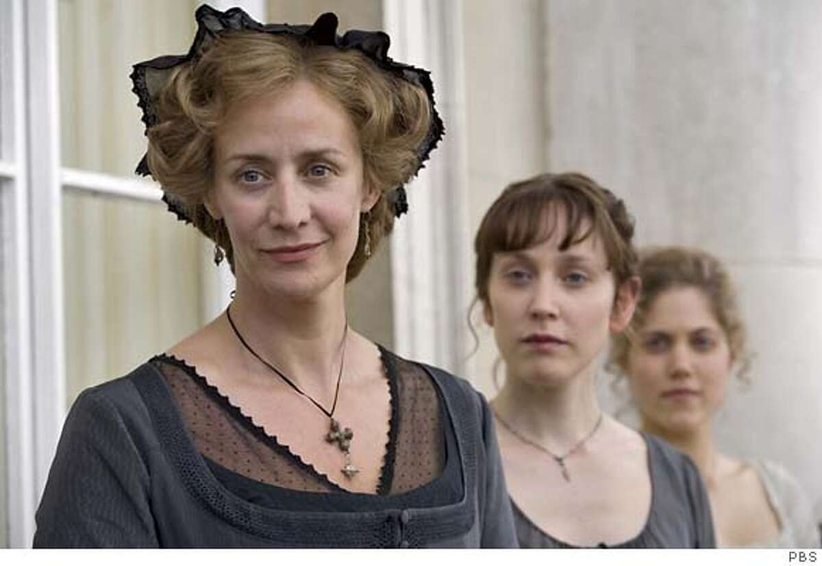 ###Live Caption:THE COMPLETE JANE AUSTEN: ñSense and Sensibilityî Premieres Sunday, March 30, 2008 at 9pm on PBS Hattie Morahan (The Golden Compass) plays levelheaded Elinor Dashwood and Charity Wakefield (Jane Eyre) is her impulsive sister Marianne. Though poor, they attract a trio of very promising gentlemen: soon-to-be wealthy Edward Ferrars (Dan Stevens, The Line of Beauty), heroic Colonel Brandon (David Morrissey, State of Play), and Byronic John Willoughby (Dominic Cooper, The History Boys). Shown (left to right): Janet McTeer as Mrs. Dashwood, Hattie Morahan as Elinor Dashwood, and Charity Wakefield as Marianne Dashwood. Photo credit/PBS###Caption History:THE COMPLETE JANE AUSTEN: �Sense and Sensibility� Premieres Sunday, March 30, 2008 at 9pm on PBS Hattie Morahan (The Golden Compass) plays levelheaded Elinor Dashwood and Charity Wakefield (Jane Eyre) is her impulsive sister Marianne. Though poor, they attract a trio of very promising gentlemen: soon-to-be wealthy Edward Ferrars (Dan Stevens, The Line of Beauty), heroic Colonel Brandon (David Morrissey, State of Play), and Byronic John Willoughby (Dominic Cooper, The History Boys). Shown (left to right): Janet McTeer as Mrs. Dashwood, Hattie Morahan as Elinor Dashwood, and Charity Wakefield as Marianne Dashwood.###Notes:###Special Instructions:WARNING This image may only be used for publicity purposes in connection with the broadcast of the programme as licensed by BBC Worldwide Ltd & must carry the shown copyright legend. It may not be used for any commercial purpose without a licence from