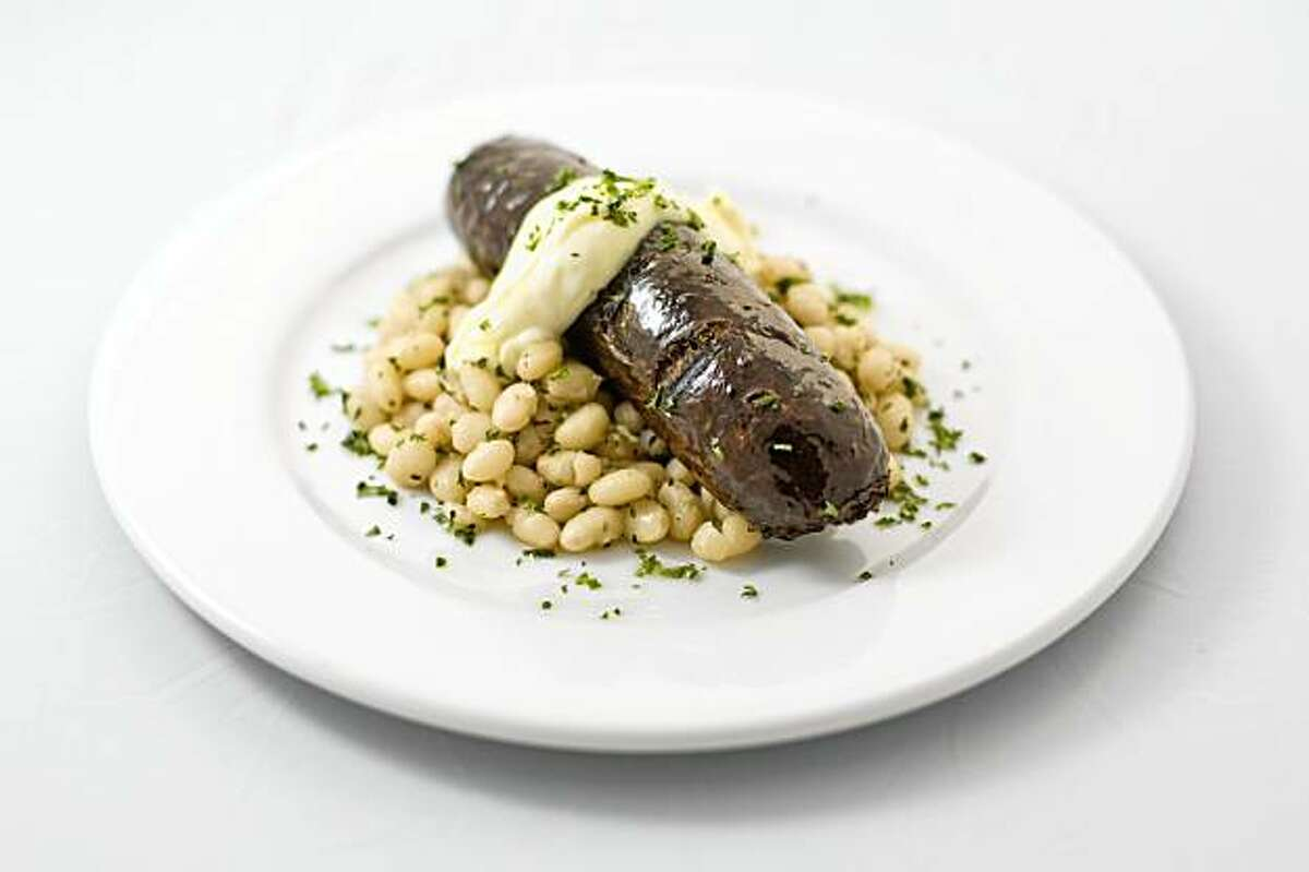 Grilled Morcilla (sausage) with white beans at B44 restaurant in San Francisco, California on Aug. 8, 2009.