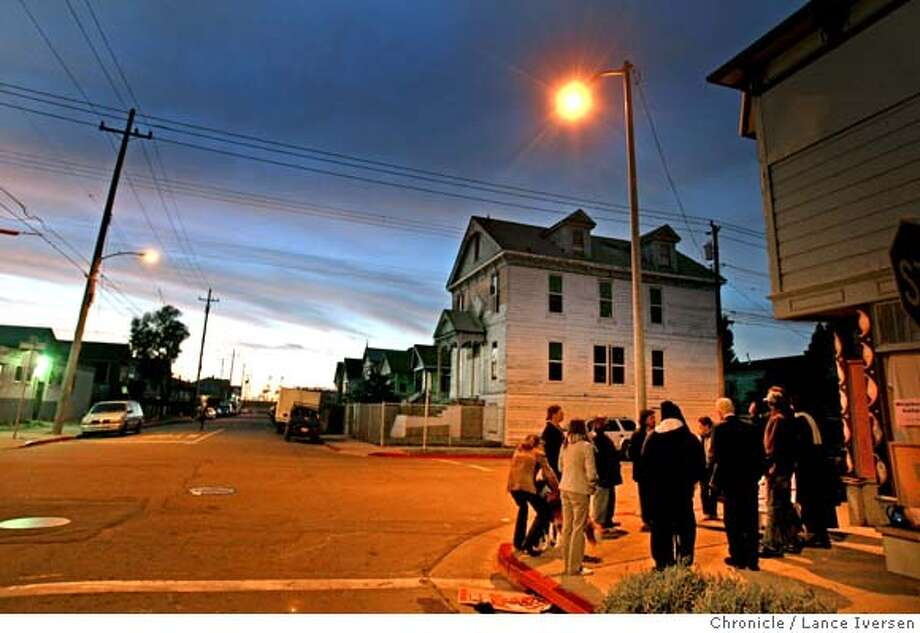 A two block stretch of West Oakland where Mayor Ron Dellums grew up, a group of relatively new residents have formed a vigil group that meets right on the corner of 10th and Wood St. every Friday evening at 6pm. They originally form last fall to combat drug dealings on the corner, but have moved on to other issues, including high volume of diesel-spewing trucks that use Wood St. The racial makeup of the group is mixed. The group has really taken ownership of their neighborhood. Friday, February 29, 2008, in West Oakland  Photo By Lance Iversen / San Francisco Chronicle. Photo: Lance Iversen