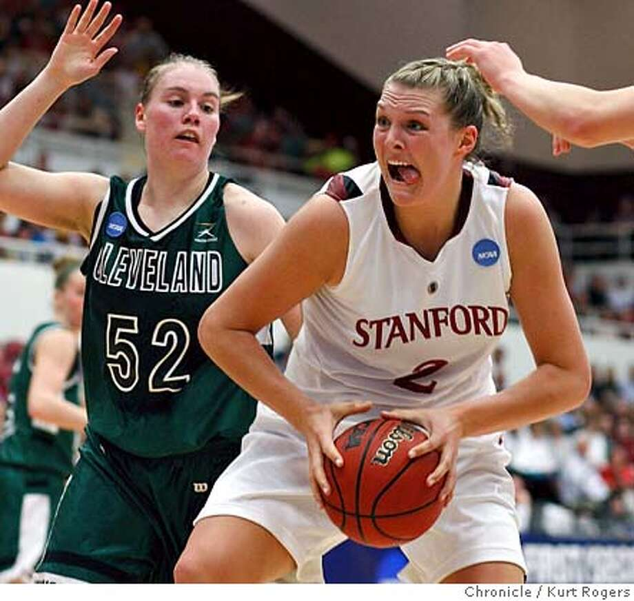 Jayne Appel under the basket as Robyn Hoying try's to defend in the first period of play Stanford 45 Clevelend 22 on Saturday March 22 2008 in Stanford, Calif  Photo By Kurt Rogers / San Francisco Chronicle Photo: Kurt Rogers