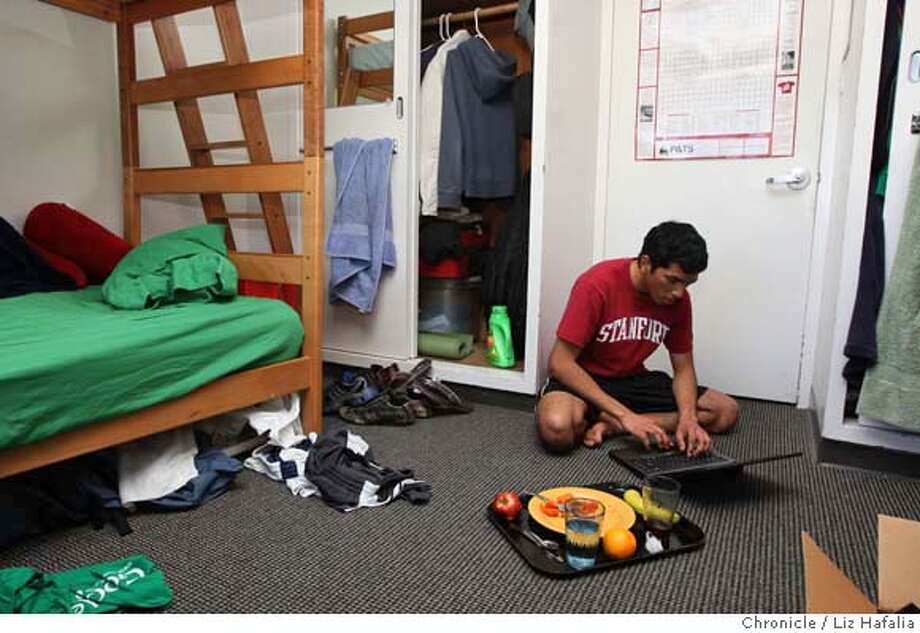 ###Live Caption:Jason Scott having lunch and doing homework in his dorm room on the Stanford University campus in Palo Alto, Calif., on Wednesday, March 5, 2008. He is on a federal Pell Grant for low-income students. Photo by Liz Hafalia / San Francisco Chronicle###Caption History:Jason Scott having lunch and doing homework in his dorm room on the Stanford University campus in Palo Alto, Calif., on Wednesday, March 5, 2008. He is on a federal Pell Grant for low-income students. Photo by Liz Hafalia / San Francisco Chronicle###Notes:Jason Scott having lunch and doing homework in his dorm room on the Stanford University campus in Palo Alto, Calif., on Wednesday, March 5, 2008. He is on a federal Pell Grant for low-income students. Liz Hafalia / The Chronicle / {city } / 3/5/08  **Ja###Special Instructions:�2008, San Francisco Chronicle/ Liz Hafalia  MANDATORY CREDIT FOR PHOTOG AND SAN FRANCISCO CHRONICLE. NO SALES- MAGS OUT. Photo: Liz Hafalia