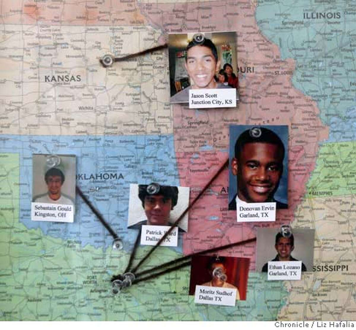 Students have their pictures pinned on their hometowns on a U.S. map posted in the dormitory. Chronicle photo by Liz Hafalia