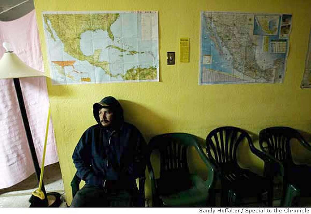 ###Live Caption:v###Caption History:A migrant sits at the Centro De Recursos Para Migrantes before heading North on Friday, November 10, 2006 in Agua Prieta, Mexico. Photo by Sandy Huffaker/Special to the Chronicle###Notes:###Special Instructions: