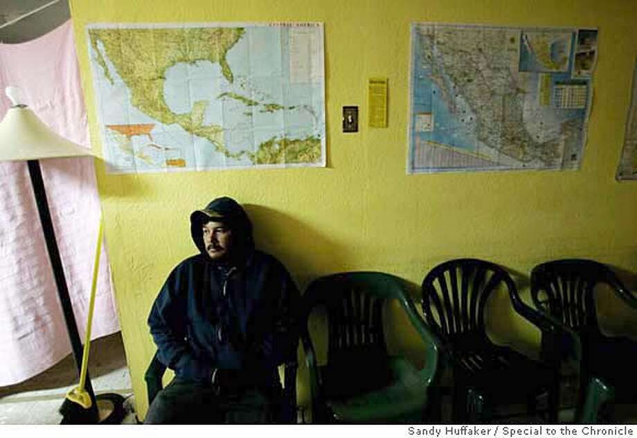 ###Live Caption:v###Caption History:A migrant sits at the Centro De Recursos Para Migrantes before heading North on Friday, November 10, 2006 in Agua Prieta, Mexico. Photo by Sandy Huffaker/Special to the Chronicle###Notes:###Special Instructions: Photo: Sandy Huffaker