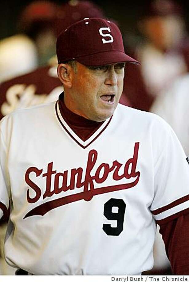 Stanford head coach Mark Marquess cheers for his team from the dugout during the game against California; Stanford vs. Cal baseball at Sunken Diamond in Stanford, CA, on Friday, March, 2, 2007. Photo: Darryl Bush, The Chronicle