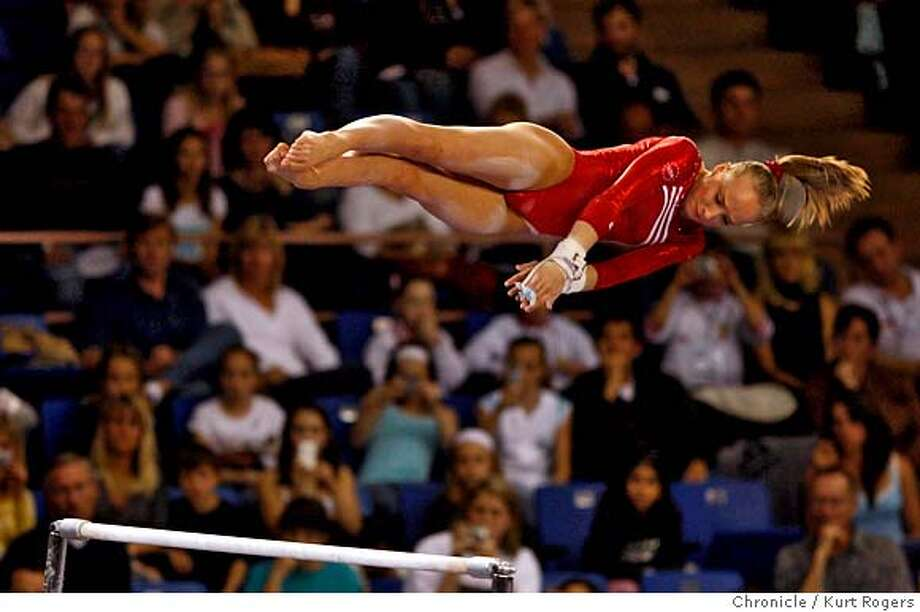 ###Live Caption:Nastia Liukin on the Unevan Bars in the second round at the 2008 Pacific Rim Championships. held at the Event Center on the campus of San Jose State  On Saturday March 30 2008 in San Jose, Calif  Photo By Kurt Rogers / San Francisco Chronicle###Caption History:Nastia Liukin on the Unevan Bars in the second round at the 2008 Pacific Rim Championships. held at the Event Center on the campus of San Jose State  On Saturday March 30 2008 in San Jose, Calif  Photo By Kurt Rogers / San Francisco Chronicle###Notes:2008 Pacific Rim Championships.###Special Instructions:MANDATORY CREDIT FOR PHOTOG AND SAN FRANCISCO CHRONICLE/NO SALES-MAGS OUT Photo: Kurt Rogers