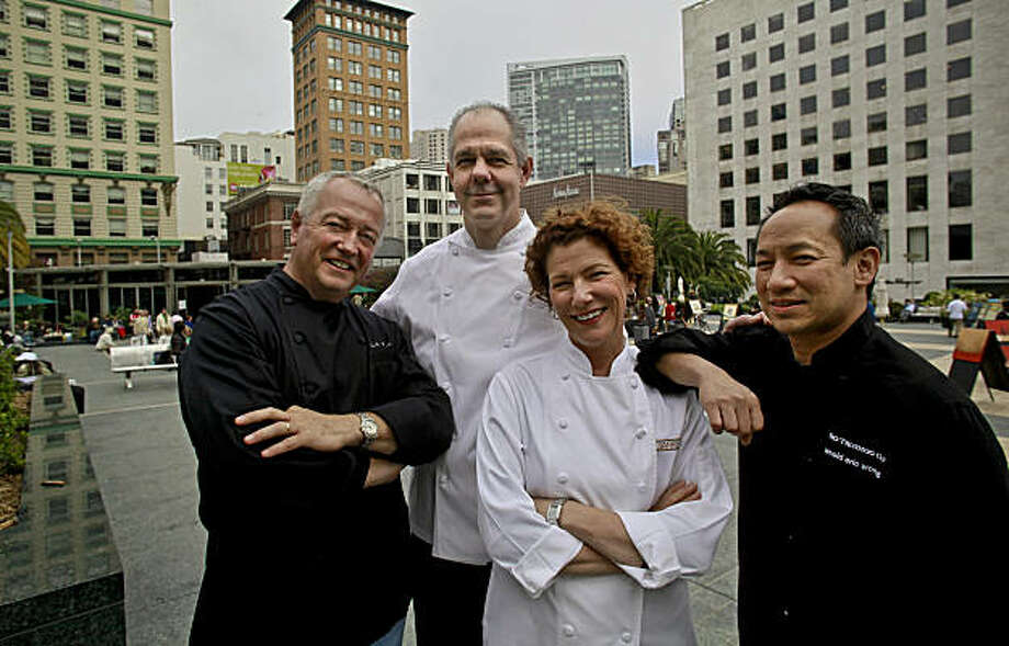 Chefs, (left to right)  Roland Passot, Gary Danko, Joanne Weir and Andy Eric Wong gather at Union Square on Thursday July 23, 2009 in San Francisco, Calif. Photo: Michael Macor, The Chronicle