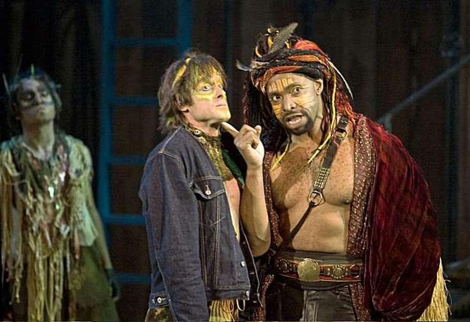 Zarif Kabier Sadiqi (Screech-owl), J. Todd Adams (Puck) and Aldo Billingslea (Oberon) in SSC's 2009 production of A Midsummer Night's Dream. Photo: R.R. Jones
