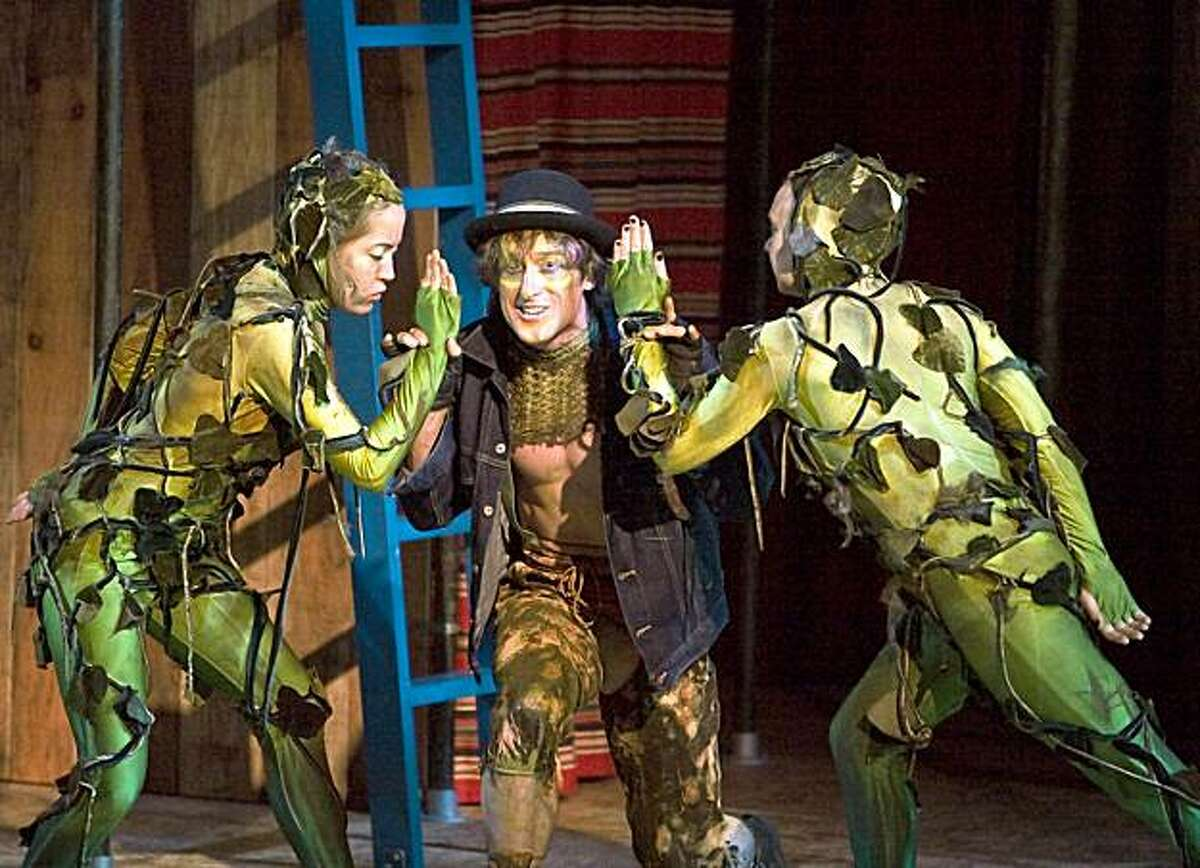 Alanah Bushfield (Hawthorne Brake), J. Todd Adams (Puck) and Lesley Frances Macdonald (Eglantine) in SSC's 2009 production of A Midsummer Night's Dream.
