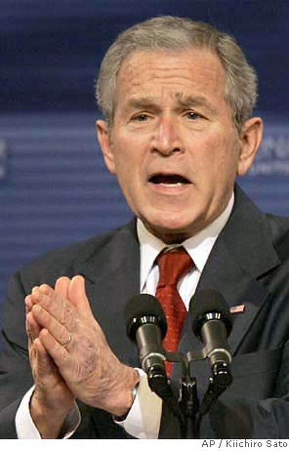 """###Live Caption:President Bush makes remarks on the """"Global War on Terror"""", Thursday, march 27, 2008, at the National Museum of the U.S. Air Force in Dayton, Ohio. (AP Photo/Kiichiro Sato)###Caption History:President Bush makes remarks on the """"Global War on Terror"""", Thursday, march 27, 2008, at the National Museum of the U.S. Air Force in Dayton, Ohio. (AP Photo/Kiichiro Sato)###Notes:George W. Bush###Special Instructions: Photo: Kiichiro Sato"""