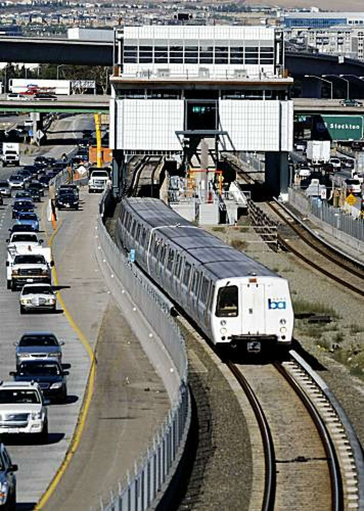 A BART train rolls past the West Dublin station, which is under construction, on Wednesday July 16, 2009, in Dublin, Calif., where a construction worker was struck by a train this afternoon.