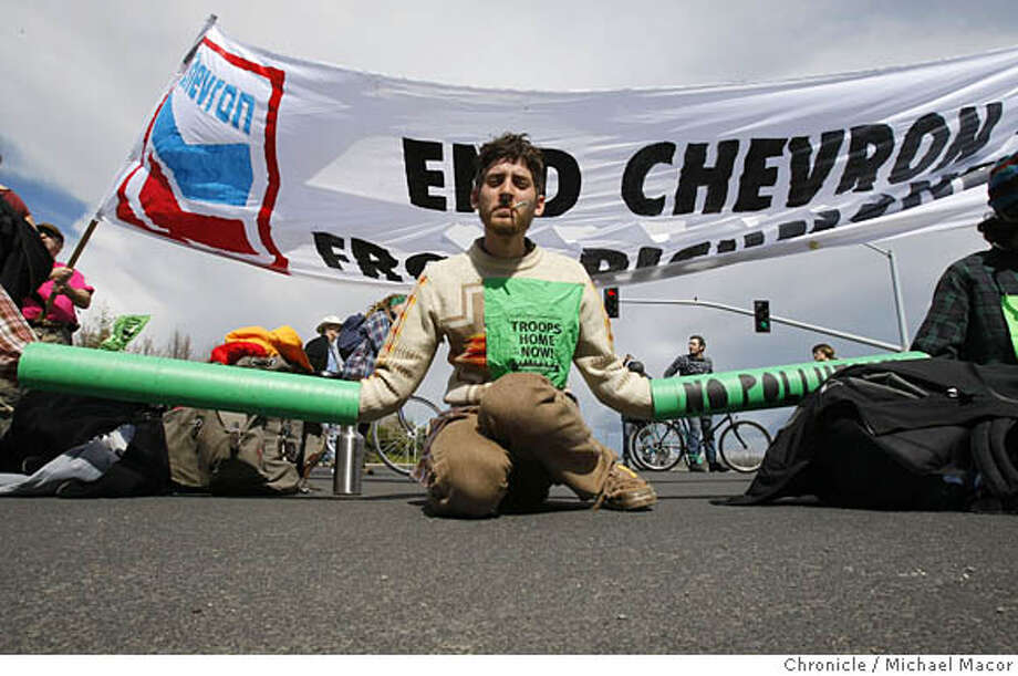 Noah, joined about 50 other protesters, many who chained themselves together in front of the Oil Refinery in Richmond, Calif., blocking the Castro St. entry into the plant,, on Mar. 15, 2008, to protest the company's involvement in the production of Iraqi oil.  Photo by Michael Macor/ San Francisco Chronicle Photo: Michael Macor
