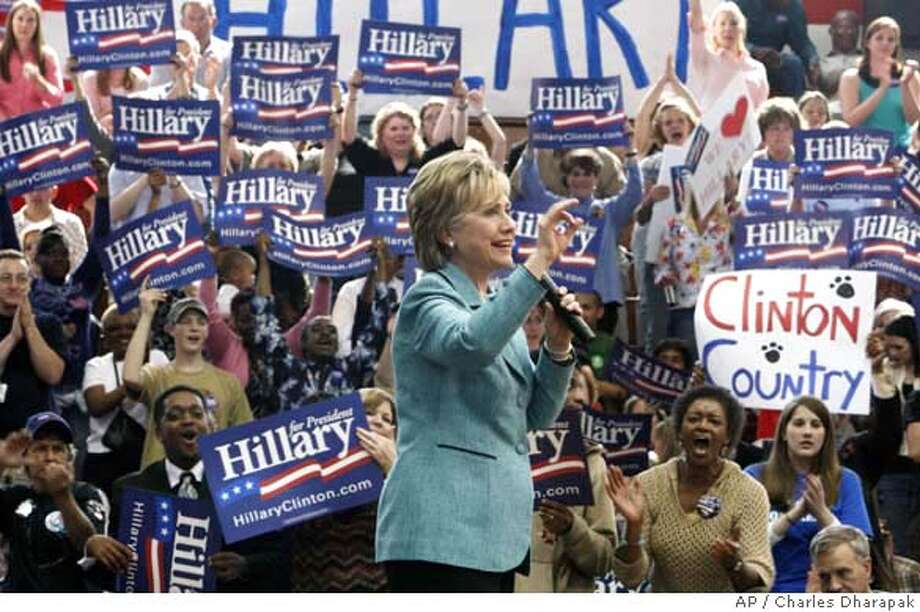 ###Live Caption:Democratic presidential hopeful, Sen. Hillary Rodham Clinton, D-N.Y., rallies the crowd during a campaign rally at Terry Sanford High School in Fayetteville, N.C., Thursday, March 27, 2008. (AP Photo/Charles Dharapak)###Caption History:Democratic presidential hopeful, Sen. Hillary Rodham Clinton, D-N.Y., rallies the crowd during a campaign rally at Terry Sanford High School in Fayetteville, N.C., Thursday, March 27, 2008. (AP Photo/Charles Dharapak)###Notes:Hillary Rodham Clinton###Special Instructions: Photo: Charles Dharapak