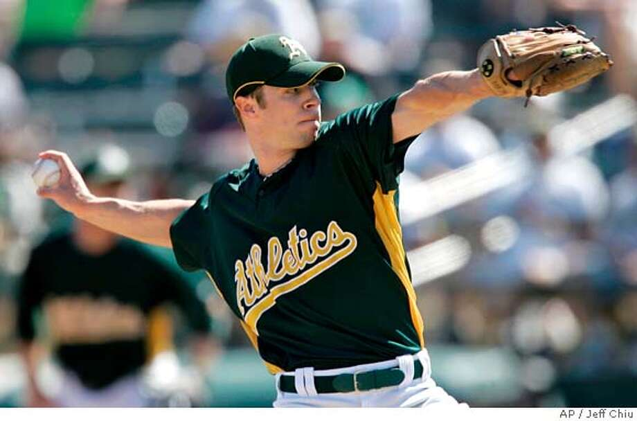 ###Live Caption:Oakland Athletics' Rich Harden pitches to the Chicago Cubs in the first inning of a spring training baseball game in Phoenix on Saturday, March 8, 2008. The Athletics won 7-6. (AP Photo/Jeff Chiu)###Caption History:Oakland Athletics' Rich Harden pitches to the Chicago Cubs in the first inning of a spring training baseball game in Phoenix on Saturday, March 8, 2008. The Athletics won 7-6. (AP Photo/Jeff Chiu)###Notes:Rich Harden###Special Instructions:EFE OUT Photo: Jeff Chiu