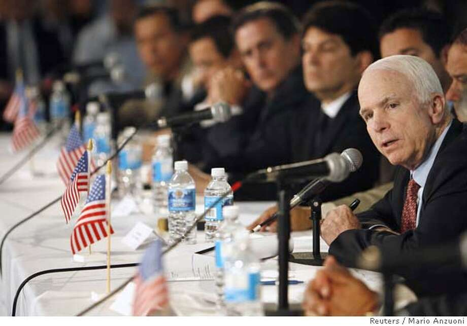 ###Live Caption:U.S. Republican presidential candidate Senator John McCain (R-AZ) speaks to business owners as he campaigns in Santa Ana, California March 25, 2008. REUTERS/Mario Anzuoni (UNITED STATES) US PRESIDENTIAL ELECTION CAMPAIGN 2008 (USA)###Caption History:U.S. Republican presidential candidate Senator John McCain (R-AZ) speaks to business owners as he campaigns in Santa Ana, California March 25, 2008. REUTERS/Mario Anzuoni (UNITED STATES) US PRESIDENTIAL ELECTION CAMPAIGN 2008 (USA)###Notes:U.S. Republican presidential candidate Senator John McCain speaks to business owners as he campaigns in Santa Ana###Special Instructions:0 Photo: MARIO ANZUONI