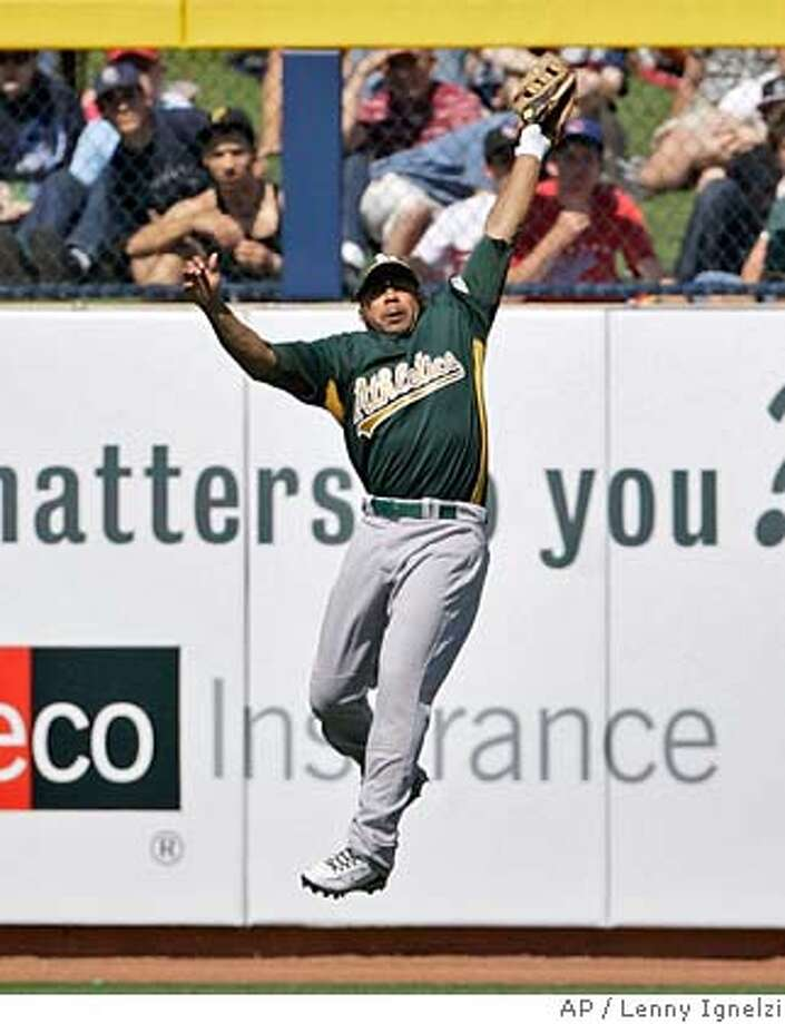 ###Live Caption:Oakland Athletics left fielder Emil Brown leaps to catch a hard line drive hit by San Diego Padres' Khalil Greene in the second inning of a spring training baseball game Saturday, March 15, 2008, in Peoria, Ariz. (AP Photo/Lenny Ignelzi)###Caption History:Oakland Athletics left fielder Emil Brown leaps to catch a hard line drive hit by San Diego Padres' Khalil Greene in the second inning of a spring training baseball game Saturday, March 15, 2008, in Peoria, Ariz. (AP Photo/Lenny Ignelzi)###Notes:Emil Brown###Special Instructions:EFE OUT Photo: Lenny Ignelzi