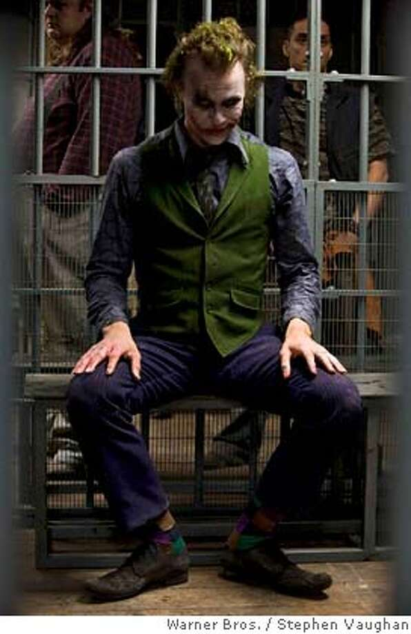"###Live Caption:Actor Heath Ledger is shown in an undated publicity photo as The Joker in Warner Bros. Pictures' and Legendary Pictures' action drama ""The Dark Knight."" Ledger was found dead in his New York apartment January 22, 2008, New York City police said. REUTERS/Stephen Vaughan/Warner Bros./Handout. NO SALES. NO ARCHIVES. EDITORIAL USE ONLY. NOT FOR SALE FOR MARKETING OR ADVERTISING CAMPAIGNS.###Caption History:Actor Heath Ledger is shown in an undated publicity photo as The Joker in Warner Bros. Pictures� and Legendary Pictures� action drama �The Dark Knight.� Ledger was found dead in his New York apartment January 22, 2008, New York City police said. REUTERS/Stephen Vaughan/Warner Bros./Handout. NO SALES. NO ARCHIVES. EDITORIAL USE ONLY. NOT FOR SALE FOR MARKETING OR ADVERTISING CAMPAIGNS.  Ran on: 01-23-2008  Heath Ledger plays the Joker in the upcoming release &quo;The Dark Knight.&quo; The sequel to &quo;Batman Begins&quo; is set to be released in July.###Notes:Actor Heath Ledger is shown in an undated publicity photo as The Joker in Warner Bros. Pictures' and Legendary Pictures' action drama ""The Dark Knight.""###Special Instructions:NOSALES NARCH EUO Photo: STEPHEN VAUGHAN/Warner Bros."