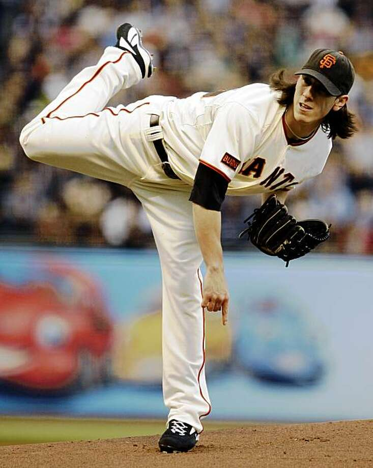 San Francisco Giants' Tim Lincecum follows through on a pitch to the Pittsburgh Pirates during the first inning of a baseball game Monday, July 27, 2009, in San Francisco. (AP Photo/Ben Margot) Photo: Ben Margot, AP
