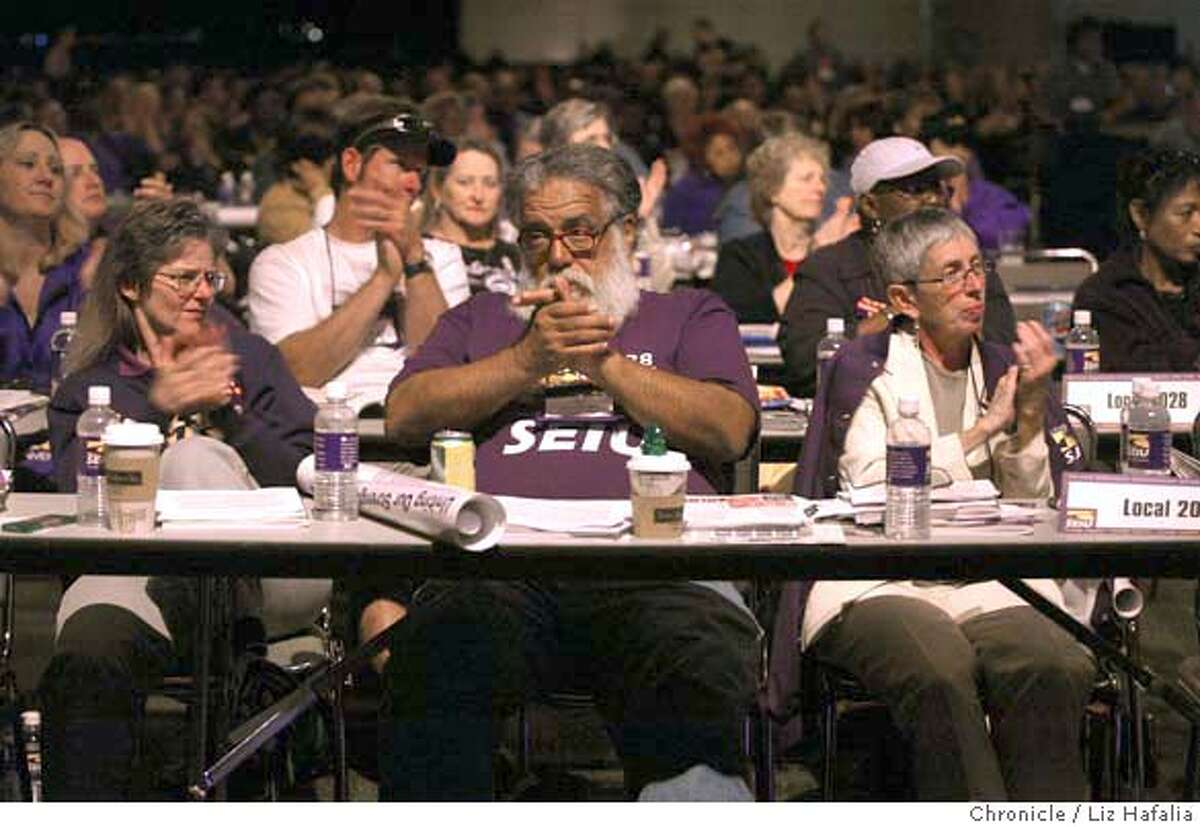 ###Live Caption:UNIONS22_036_LH.JPG Left to right--Julaynne Gath, Andy Ayers, and Lois Balfour, delegates of 2028 from San Diego. Several thousand members of the Service Employees International Union attended their quadrennial convention at Moscone West, where SEIU president Andrew Stern rose several key issues for discussion. Shot on 6/21/04 in San Francisco. LIZ HAFALIA / The Chronicle###Caption History:UNIONS22_036_LH.JPG Left to right--Julaynne Gath, Andy Ayers, and Lois Balfour, delegates of 2028 from San Diego. Several thousand members of the Service Employees International Union attended their quadrennial convention at Moscone West, where SEIU president Andrew Stern rose several key issues for discussion. Shot on 6/21/04 in San Francisco. LIZ HAFALIA / The Chronicle Ran on: 06-22-2004 Members of the Service Employees International Union attend their convention at Moscone West in San Francisco.###Notes:###Special Instructions:MANDATORY CREDIT FOR PHOTOG AND SF CHRONICLE/NO SALES-MAGS OUT