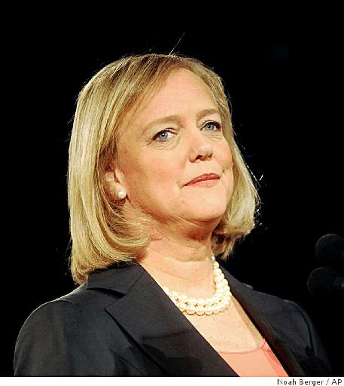 Meg Whitman, a likely candidate for California governor, speaks in San Jose, Calif., on Tuesday, Feb. 17, 2009. The former eBay chief executive stressed her goals of job creation and limited government. (AP Photo/Noah Berger)