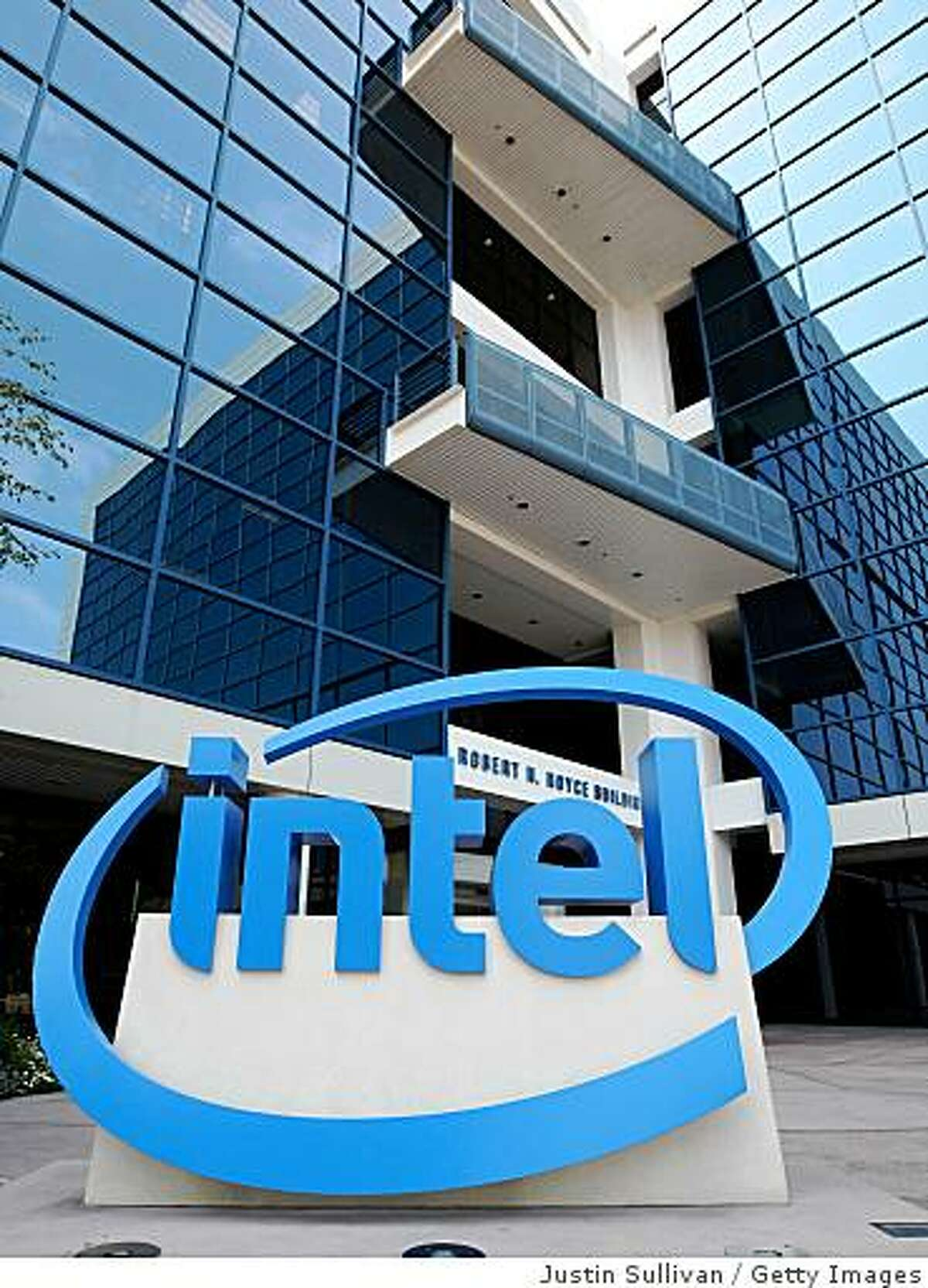 SANTA CLARA, CA - JULY 15, 2008: (FILE) An Intel sign is displayed in front of company headquarters July 15, 2008 in Santa Clara, California. Chipmaker Intel announced Janaury 21, 2009 that it is cutting production at two U.S. plants and closing three other facilities in Asia, affecting up to 6,000 workers. (Photo by Justin Sullivan/Getty Images)