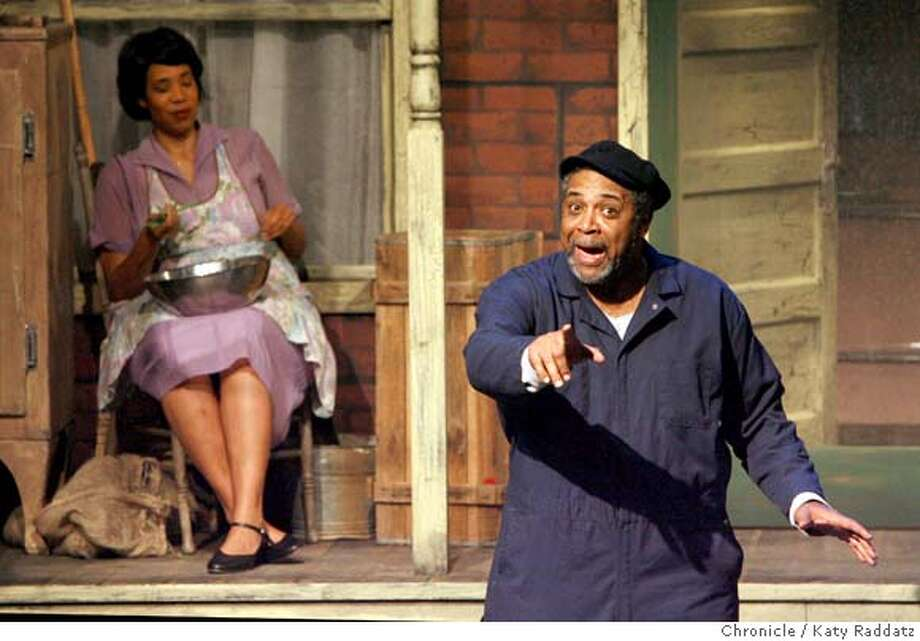 "Rose, played by Elizabeth Carter, left, listens to her husband Troy Maxson, played by Alex Morris, right, talk about meeting the Devil, in a preview performance of August Wilson's ""Fences"" at the Lorraine Hansberry Theater in San Francisco, Calif. on Thursday March 20, 2008.  Photo by Katy Raddatz / San Francisco Chronicle Photo: KATY RADDATZ"