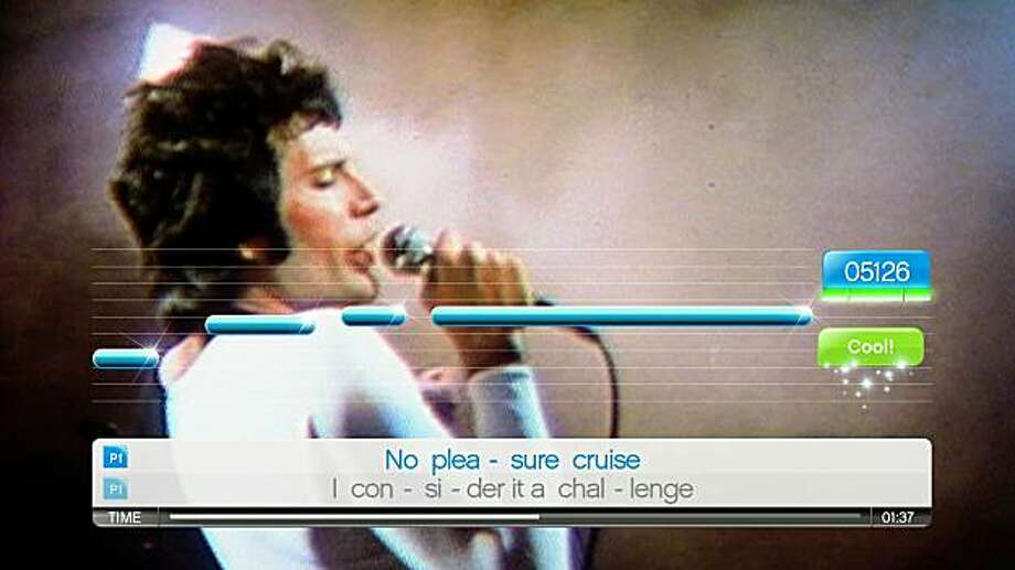 Freddie Mercury appears in many guises throughout the years in the SingStar Queen game. Here he is in the video for We Are the Champions. Photo: Sony