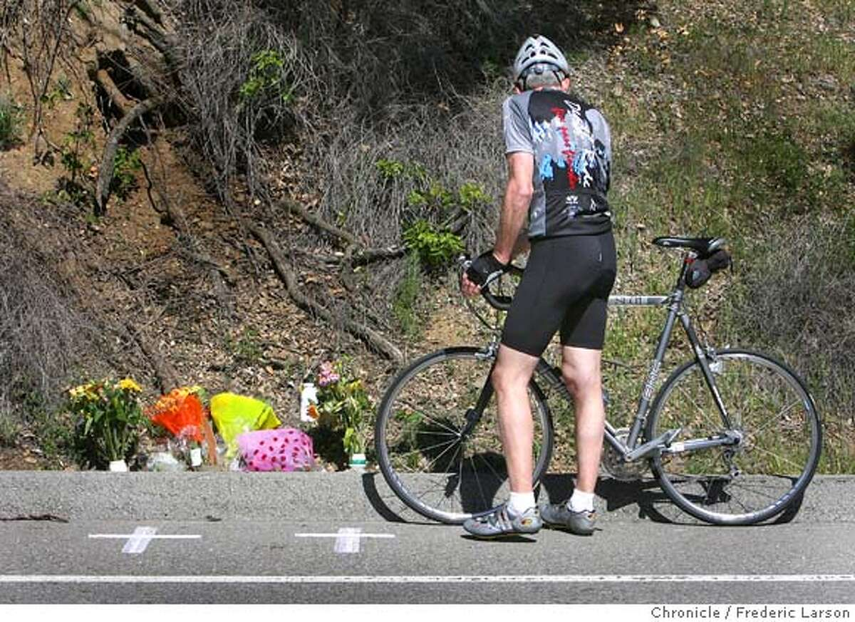 A make shift memorial was placed by many cyclist who stopped by the scene to pay their repects on March 10, 2008, of where Deputy James Council who was working patrol Sunday morning crossed onto the wrong side of Stevens Canyon Road at 10:25 a.m. and rammed the three southbound bicyclists head-on killing two and injuring the other. 3/10/08 Photo by Frederic Larson / San Francisco Chronicle