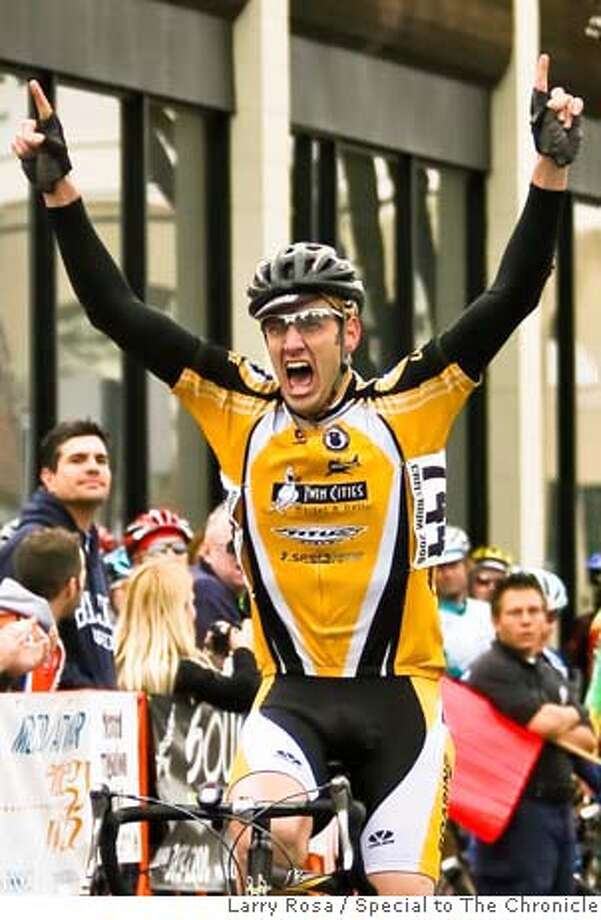 San Francisco cyclist Matt Peterson, who was struck and killed by a Santa Clara Sheriff's cruiser outside Cupertino, Calif., on Sunday, March 9, 2008. The photo is of Peterson crossing the finish line at the Merco Credit Union Downtown Grand Prix, held in Merced, Calif., on Saturday March 1, 2008 Photo by Larry Rosa / Special to The Chronicle Photo: Larry Rosa Photography