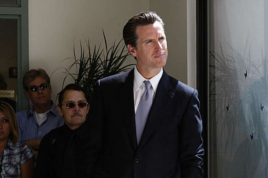 Mayor Newsom looks onto the patio as he waits to introduce the new medical respite and sobering center, at a press conference on Mission St. in San Francisco , Calif., on Wednesday, July 1, 2009. Photo: Liz Hafalia, The Chronicle