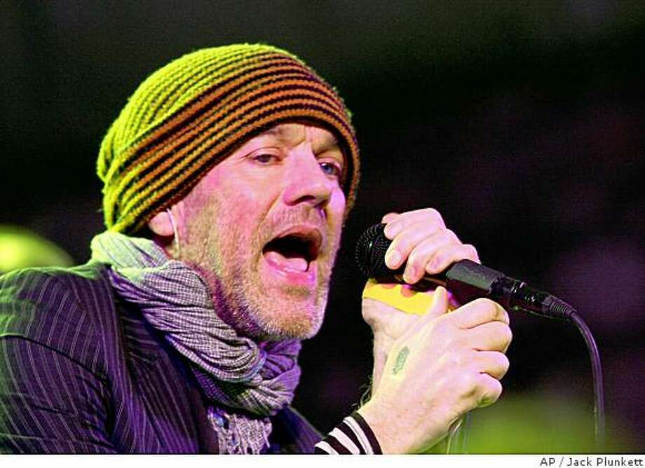 *** CORRECTS TYPOS AND NAME OF MUSIC FESTIVAL *** R.E.M's Michael Stipe performs during the South by Southwest Music Festival in Austin, Texas on Wednesday March 12 , 2008.(AP Photo/Jack Plunkett) Photo: Jack Plunkett, AP
