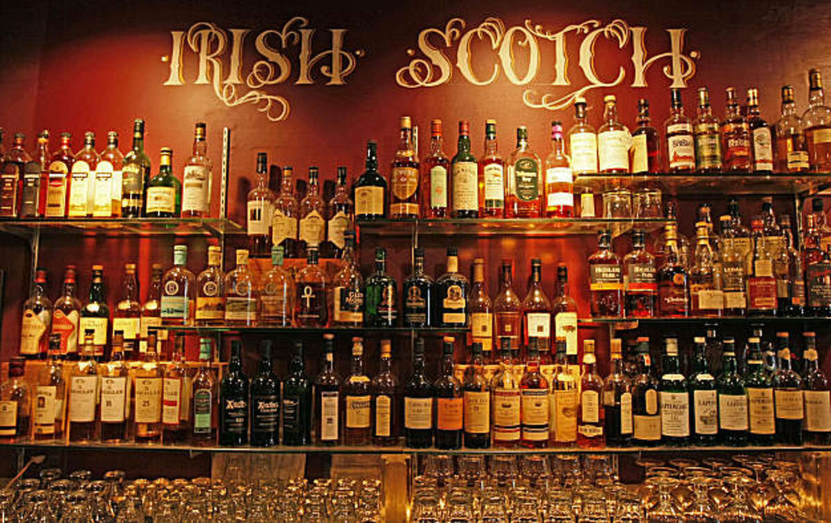 The Whiskeys Thieves bar on Geary St. near Hyde St. in San Francisco, Calif., offers a hugh selection of Whiskeys to it's patrons. Photo by Michael Macor/ San Francisco Chronicle