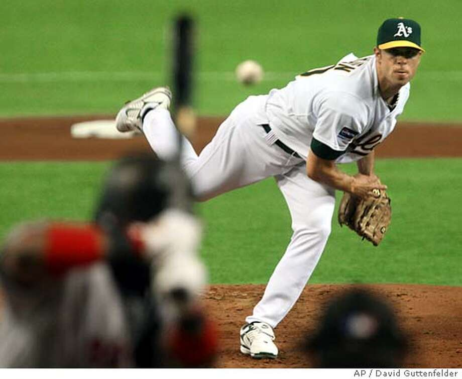 Oakland Athletics starter Rich Harden pitches against Boston Red Sox leftfielder Manny Ramirez in the first inning of their Major League Baseball regular season game at Tokyo Dome in Tokyo, Wednesday, March 26, 2008. (AP Photo/David Guttenfelder) Photo: David Guttenfelder