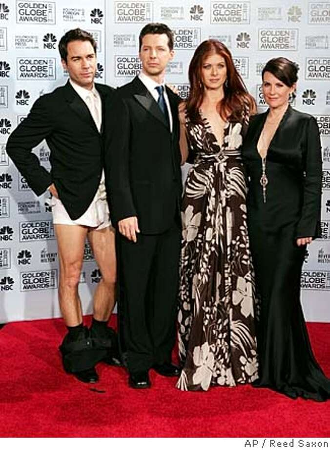 "###Live Caption:Sean Hayes, second from left, has listed his Los Angeles home at close to $9 million.###Caption History:The cast of ""Will and Grace"" pose backstage at the 63rd Annual Golden Globe Awards on Monday, Jan. 16, 2006, in Beverly Hills, Calif. From left are Eric McCormack, Sean Hayes, Debra Messing and Meghan Mullally (AP Photo/Reed Saxon)###Notes:###Special Instructions: Photo: REED SAXON"